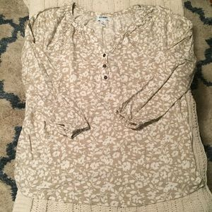 Old Navy 3/4 length sleeve top tan & white floral